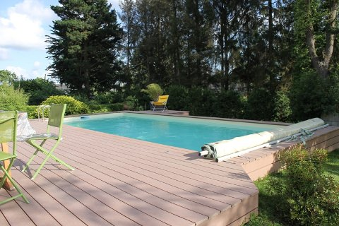 wood plastic pool edging